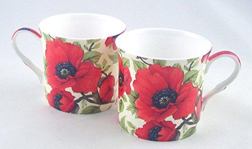 Autumn Poppy Chintz Set of Two Fine Bone China Mugs Adderley of England