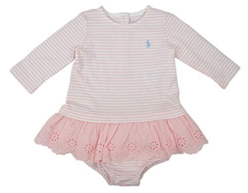 (Ralph Lauren Polo Baby Girl's Two Piece Striped Dress Set, Pink MU)