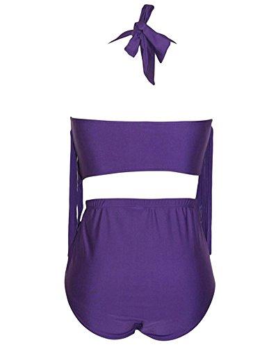 Viola Alta Nappa Costumi Retro Vita Charme Forti Pezzi Donne A Bagno Bikini Due Taglie Da Colore f7Wq7g08Z