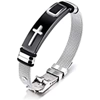Impression New Design Black/Silver Stainless Steel English Lord's Prayer Bible Cross Christ Bracelet/Wristband For Men's and Boys
