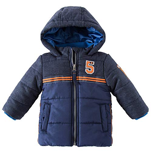 SNOW DREAMS Baby Boys Jacket Hooded Puffer Outerwear Coat Navy Blue 18/24M
