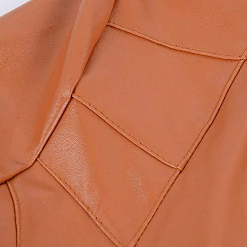 Casuale Biker Corto Bavero Braun Primaverile Jacket Pelle Especial Cerniera Donna Cappotto Vintage Autunno Con Giubbotto Lunga Giacca Finta Di Irregolare Moto Estilo Manica 4angq