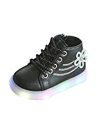 Kids Baby Girls Casual Sneakers,Floral Crystal Zipper LED Light Luminous Running Sport Shoes Princess Booties