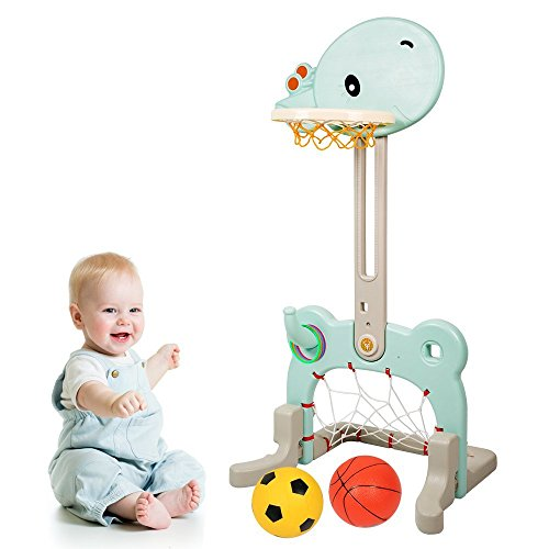 Beebeerun Baby Sports Activity Center 3-in-1 Adjustable Easy Score Basketball Hoop Football Goal Ring Toss Cute (Activity Hoops)