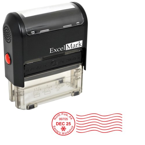 Self-Inking Christmas Rubber Stamp - Postmark - Red -