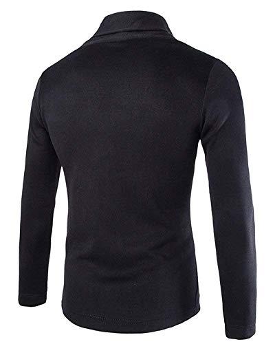 Cardigan Jacket Unie Sweat Bobolily Longues Schwarz Hommes Open Couleur Manches À Printemps Tricot EOAAqn