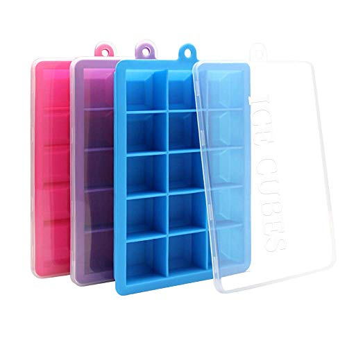 3 Pack Silicone Ice Tray, PALADY Easy Release Ice cube Trays with Lids, Flexible BPA Free Ice Cube Trays Mold Make 45 Large Ice Cube for Beverages, Whiskey, Baby Food, (Ice Blue Rose)