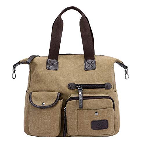 (Womens Casual Diaper Bag Shoulder Handbag Canvas Multi Pockets Messenger Bags Crossbody Bag Khaki )