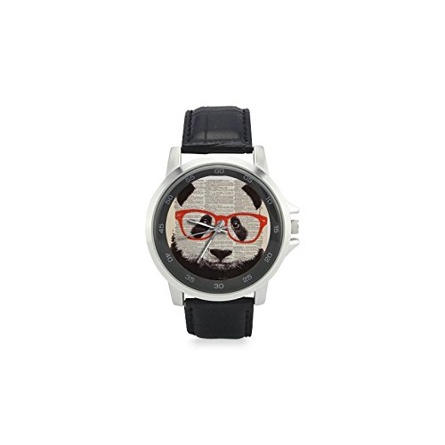 Cool Funny Panda Bear Wearing Glasses Round Unisex Metal Silver Stainless Steel Leather Strap Wrist Watch, Watch Face Diameter: 1.4