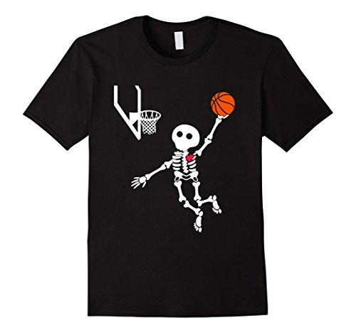 Mens basketball skeleton halloween shirt Small Black (Halloween 2017 Skeleton)