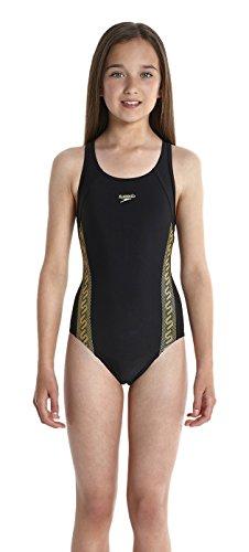 Speedo Mädchen Badeanzug Monogram Muscleback, Black/Global Gold, 164, 8-08747A721164