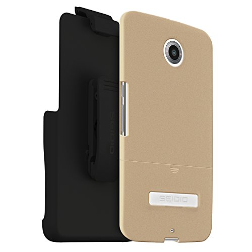 Seidio Surface Case with Metal Kickstand and Holster Combo for Motorola Nexus 6 - Retail Packaging - - Surface Innocase Seidio Holster