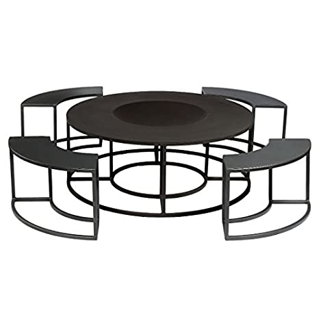 Fabulous Steel Round Fire Table And 4 Separate Log Store Benches Black Metal Fire Bowl And Firewood Store Garden Table And Chairs Camellatalisay Diy Chair Ideas Camellatalisaycom
