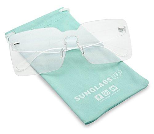Colorful Bold Oversize One Piece Mono Block Full Shield Rimless Color Transparent Sunglasses (Smoke Gray, (Smoke Gray Sunglasses)