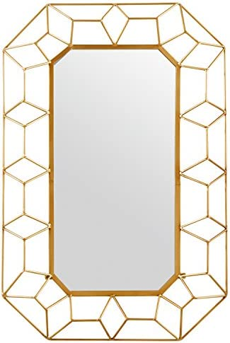 Amazon Brand Stone Beam Diamond Shape Metal Frame Hanging Decorative Wall Mirror, 34.25 Inch Height, Gold Finish