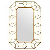 Stone & Beam Diamond Shape Metal Frame Mirror, 34.25'' H, Gold Finish