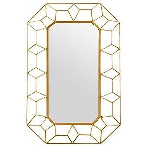 "Stone & Beam Diamond Shape Metal Frame Mirror, 34.25"" H, Gold Finish"