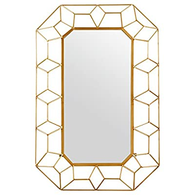 Stone & Beam Diamond Shape Metal Frame Hanging Decorative Wall Mirror, 34.25 Inch Height, Gold Finish - This mirror is a work of art, ready to make a modern style statement in your home. The gold finish of the layered diamond shapes gives it a 3D effect with a touch of glam, making it ideal for a modern style bedroom or living room. Modern design with touch of glam Glass, iron with gold finish - bathroom-mirrors, bathroom-accessories, bathroom - 41faeQZxXdL. SS400  -
