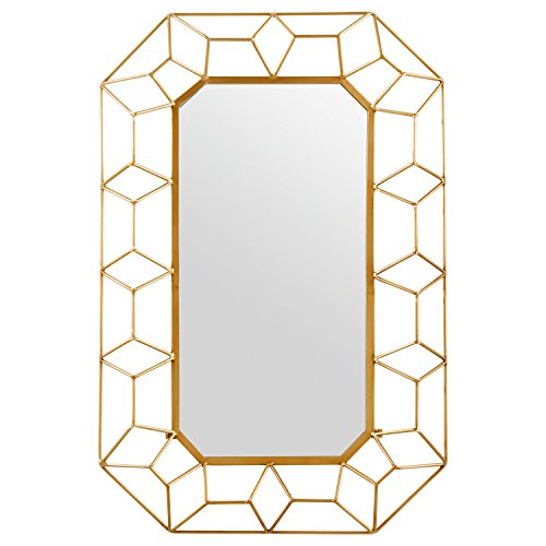 Stone & Beam Diamond Shape Metal Frame Hanging Decorative Wall Mirror, 34.25 Inch Height, Gold Finish ()
