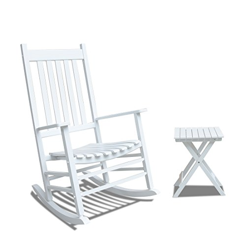 Caymus White Solid Hardwood Outdoor Rocking Chair Country Plantation Porch Rocker Provide Comfortable Seating on Patio or Deck with Table
