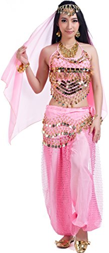 Genie Costumes for Halloween Women Lady's Belly Dance Costumes Set Outfit Accessories Pink]()