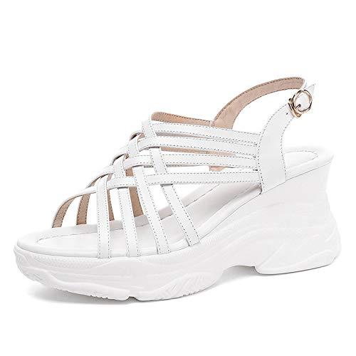 blanc HommesGLTX 2019 New Hot Summer Summer Dad Chaussures Fille Plateforme Sandales en Cuir Véritable Grand Taille 33-42 Confort Compensées Chaussures Femme