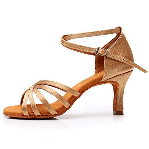 SWDZM Absatz Damen Beige Standard 7 7cm Schuhe Dance Tanzschuhe Satin ModellD213 Ballsaal Latin Ausgestelltes 77wrdR
