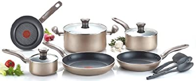 T-fal C067SC Metallics Nonstick Thermo-Spot Heat Indicator Dishwasher Safe Oven Safe PFOA Free Cookware Set, 12-Piece, Bronze