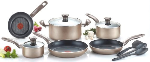 T-fal Pots Pans - T-fal C067SC Metallics Nonstick Thermo-Spot Heat Indicator Cookware Set, 12-Piece, Bronze