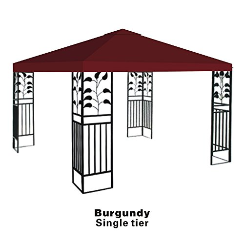 BenefitUSA Replacement top cover for 10'X10' gazebo canopy patio pavilion sunshade plyester single tier-BURGUNDY by BenefitUSA
