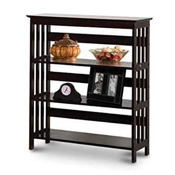 Mission Style Contemporary Cappuccino Espresso Book Shelf Case Bookcase Bookshelf – Great for Rvs and Boats