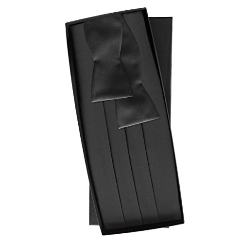 Black Silk Self Tie & Cummerbund Set