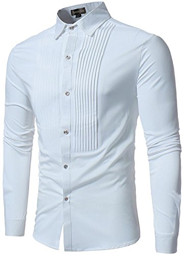 Sportides Men's Casual Long Sleeve Slim Fit Button Down Dress Shirt Tops JZA121 White L