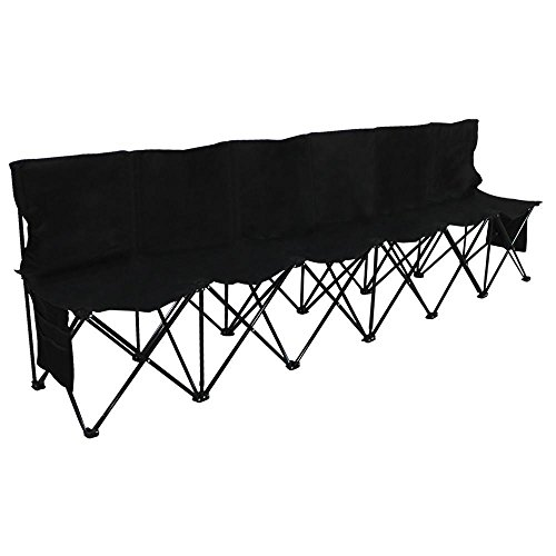 (Yaheetech Portable 6 Seats Sport Sideline Folding Bench Soccer Team Bench with Sidebag and Carry Bag, 600D Oxford Double Layer Fabric, Black)