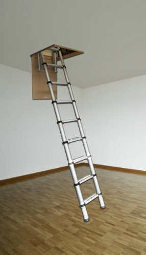 youngman 301000 telescopic loft ladder aluminium 2 6. Black Bedroom Furniture Sets. Home Design Ideas