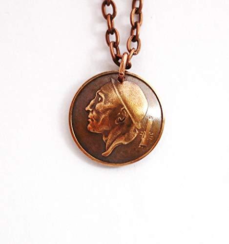 Domed Coin Necklace Pendant, Belgium Miner, Belgique, 1957, 50 Centimes