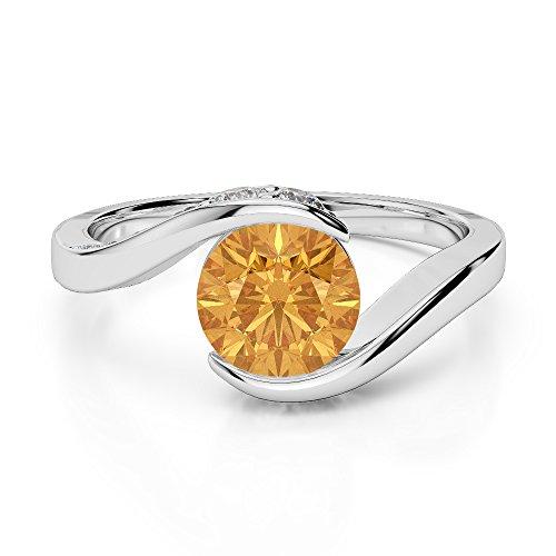 G-H/VS 0,76ct Coupe ronde sertie de diamants Citrine et bague de fiançailles en platine 950Agdr-1209