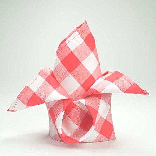 Efavormart 15x15 RED/White Checkered Wholesale Gingham Polyester Linen Picnic Restaurant Dinner Napkins - 5 PCS