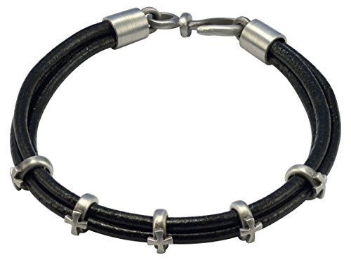- Bico Raw Faith Black Leather Bracelet with Crosses (FB414BLK 21cm-8in) - faith without limits unyeilding