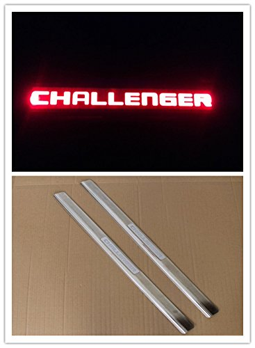 (Highitem 2PCS Car Door Entry Guards Sill Plate Stainless Steel For Dodge challenger 2009-2016 (Red LED Light))
