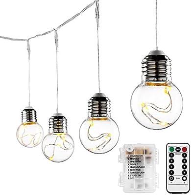 LE Guirnalda de luces LED 10 bolas 8 Modos, Temporizador, Mando remoto, Blanco cálido, decoración de casa, fiestas, navidad, terraza etc.