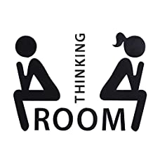 Whitelotouse Funny Toilet Bathroom Sign Decal Vinyl Sticker Wall Decals Bathroom Decoration for Shop Office Home Cafe Hotel (Thinking Room)