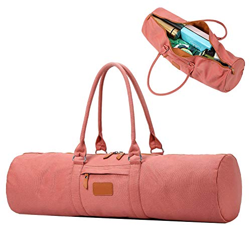 YanHao Yoga Mat Bags Canvas Yoga Mat Carrier with Zipper Pocket for Women and Men(Pink)