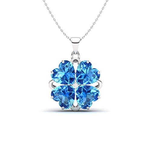 (Diamondere Natural and Certified Heart Cut Blue Topaz and Diamond Flower Necklace in 14k White Gold | 2.32 Carat Pendant with Chain)