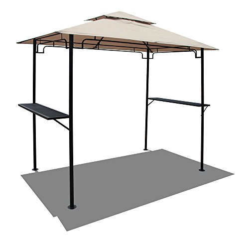 COBANA 8' by 5'Steel Outdoor Backyard BBQ Grill Gazebo with 2-Tier Soft Top Canopy,Beige For Sale