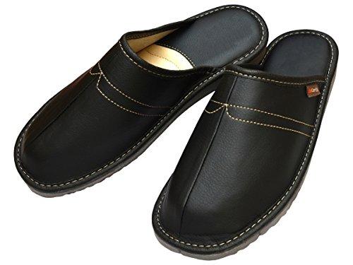 BeComfy Herren Hausschuhe Leder Pantoffeln Geschenkkarton (Wahlweise) Modell FM82 Schwarz-Geschenkkarton
