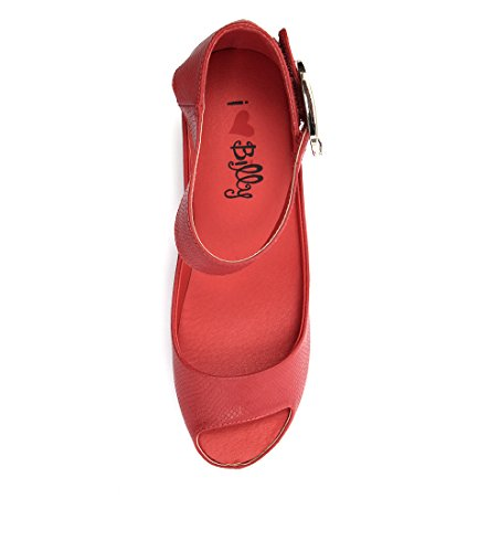 Wedges SMOOTH Womens Shoes RED Summer EMBOSSED Medium TINDOL BILLY Heels I LOVE nBwZq8CxcR