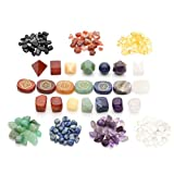 Top Plaza 7 Chakra Healing Crystals Natural Gemstones Kit W/Platonic Solids Crystals,Chakra Symbol Holistic Balancing Stones,Tumbled Palm Stones,Chip Stones for Reiki,Yoga Meditation,Wicca,Therapy