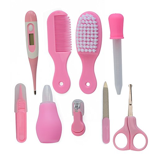 Nursery Care Kit , Grooming Kit high quality for Infants, Newborns, Kids, Boys and Girls.Includes Nail Clippers ,Scissors, Nail File ,Soft Brush, Hair Comb , Tweezers , Nasal Absorption Device 9pcs by Tusunny