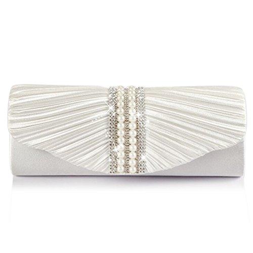 Emour Women Satin Pleated pearl Clutch Wedding Bag Bridal Prom Evening HandBag (White)